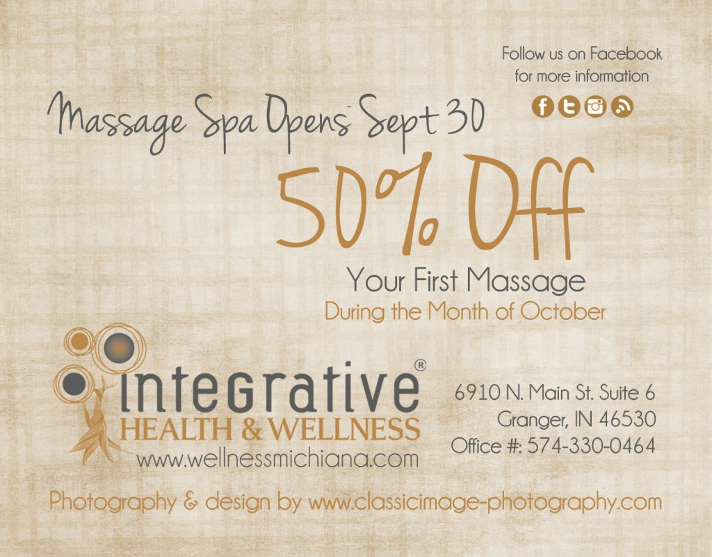 Integrative Health and Wellness October 2014 Massage Special